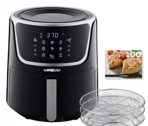 GoWISE USA GW22956 7-Quart Electric Air Fryer with Dehydrator & 3 Stackable Racks, Led Digital Touchscreen with 8 Functions + Recipes, 7.0-Qt