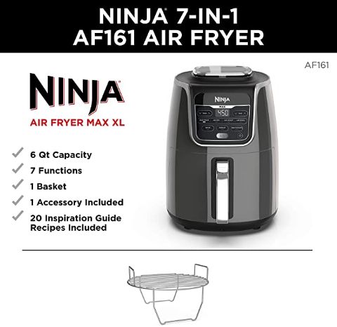 Ninja Max XL Air Fryer that Cooks, Crisps, Roasts, Broils, Bakes, Reheats and Dehydrates, with 5.5 Quart Capacity, and a High Gloss Finish 1
